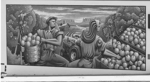 24 x 36 B&W Giclee Print of Harvest Time, Artist Brad Godell's 2011 Mural in Cortez, Colorado, Suggesting Works Progress Administration (WPA) murals During The Great Depression 2015 Highsmith 02a