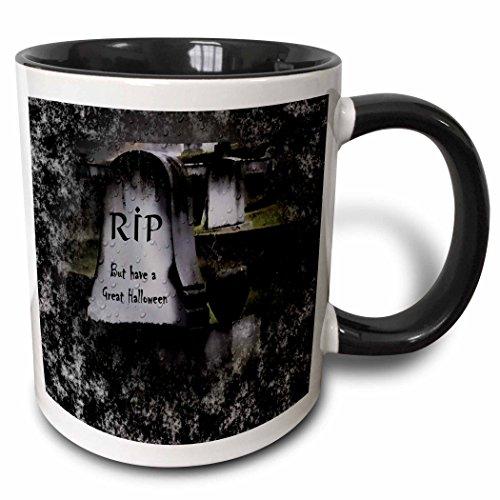 3dRose ET Photography - Halloween Designs - A tomb stone with RIP with Halloween Greeting - 15oz Two-Tone Black Mug (mug_157342_9)