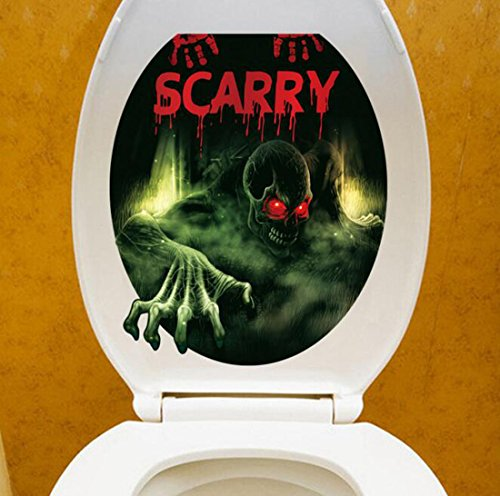 [Halloween decoration Creative 3D Wall Toilet Stickers Scarry Real Feeling] (Scarry Halloween)
