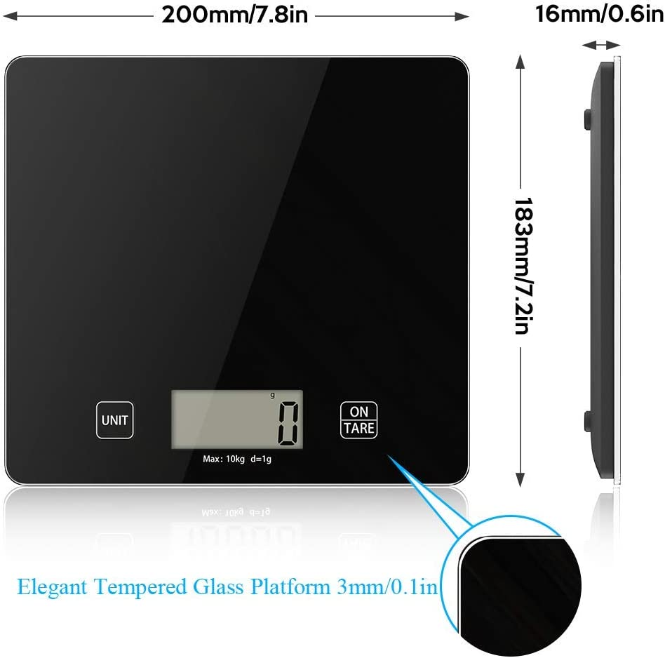 Kitchen Scale, 10kg Digital Food Scale with Tempered Glass Big Platform, Electronic Cooking Scales LCD Display Multifunctional Scale for Home Office Use, 1kg-10kg Black