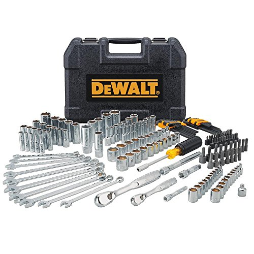 Mechanics Ratcheting Screwdriver Kit - Mechanics Tool Set (DEWALT 172-Piece) Professional Case Box Kit Equips W Everything For The Job 72-Tooth Ratchet For High-Torque Screwdriver, (Standard & Deep Bit Sockets, Wrenches, Hex Keys)