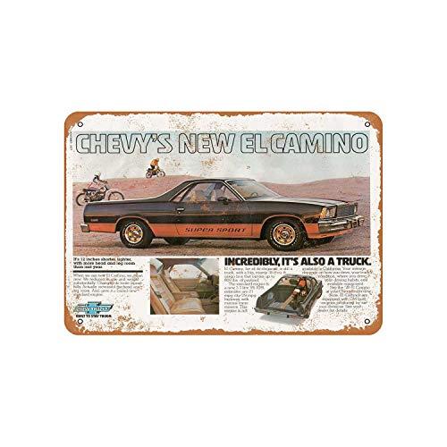 Fhdang Decor Vintage Pattern 1977 Vintage Cars El Camino SS Vintage Look Aluminum Sign Metal Sign,12x18 Inches
