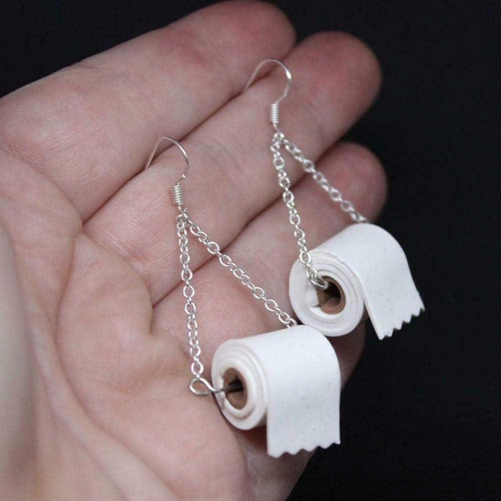 Novelty Earrings for Women Toilet Paper Roll Shape Pendant Drop Dangle Earrings Funny Simple Hook Earring Ladies Girls Personality Charm Jewelry Gift