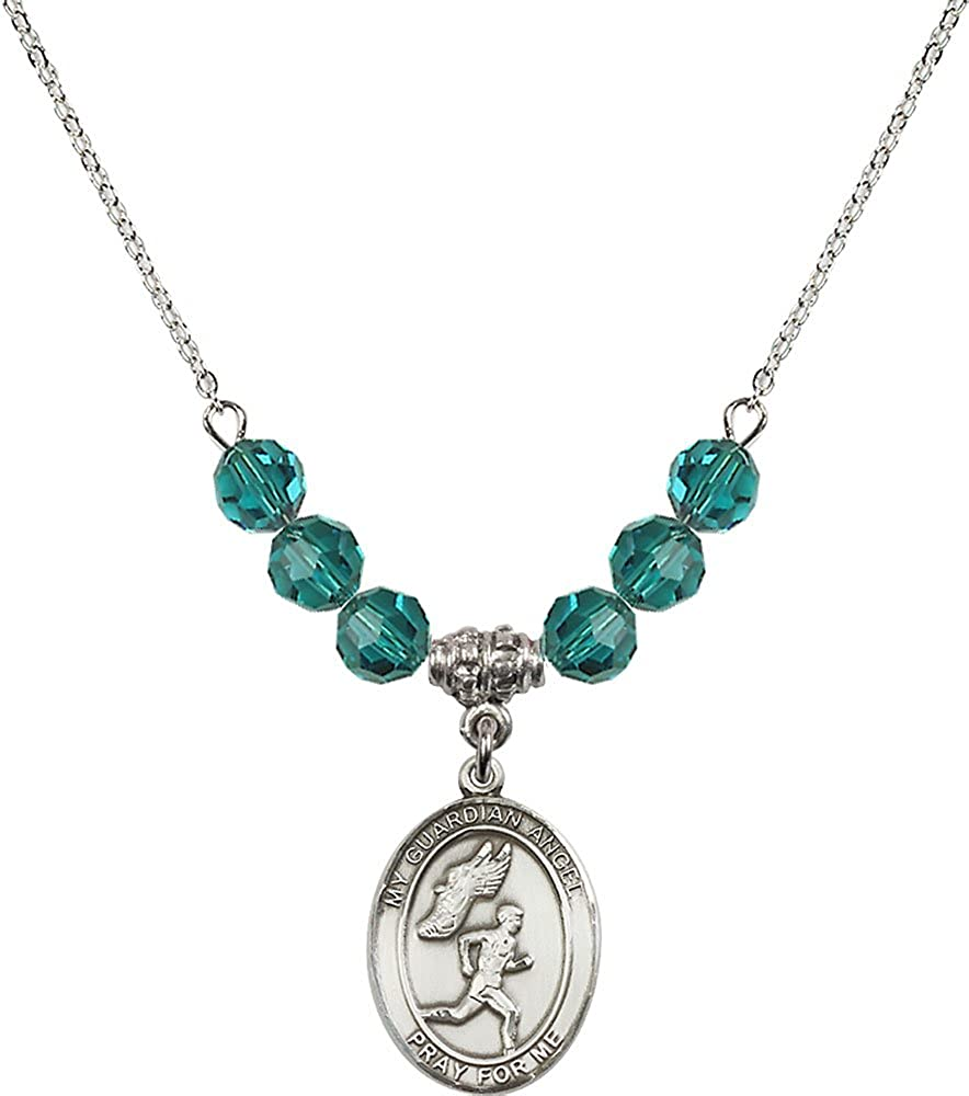 18-Inch Rhodium Plated Necklace with 6mm Zircon Birthstone Beads and Sterling Silver Guardian Angel//Track/&Field-Men Charm.