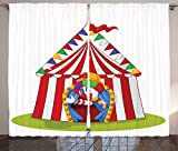 Circus Decor Collection Illustration of Cartoon Clown Come out from Circus Tent Smile Joker Enjoy Image Living Room Bedroom Curtain 2 Panels Set Red White Green Blue