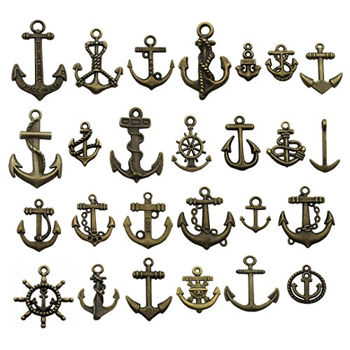 100g Anchor Charms Collection - Metal Alloy Pendants for Jewelry Making DIY Findings (Bronze Anchor HM64) for $<!--$7.97-->