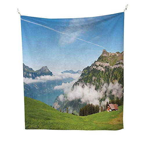 Mountainoutdoor tapestryPastoral View Switzerland Lake Lucerne Cloudy Grassland Pines Altdorf Uri 70W x 84L inch Ceiling tapestryBlue Green White ()
