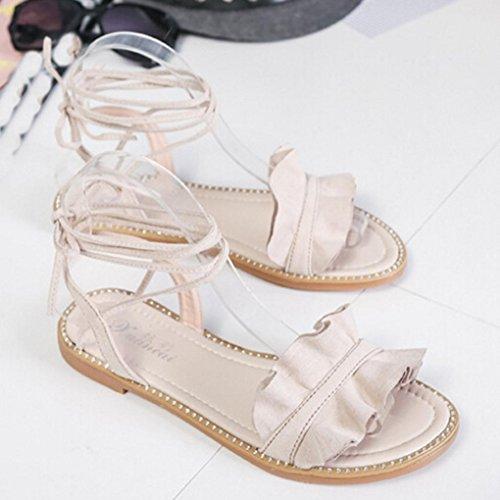 BZLine® Frauen Summer Office Low Heel Casual Lace-Up Shoe Sandalen Weiß