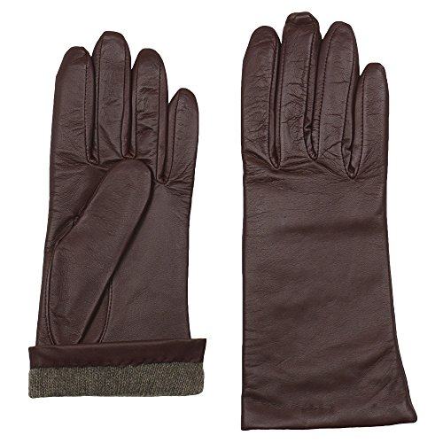GRANDOE Women's Sheepskin Leather Glove, Cashmere Lined, Chic Modern Winter Wear (5100, Copper, (All Weather Leopard Gloves)