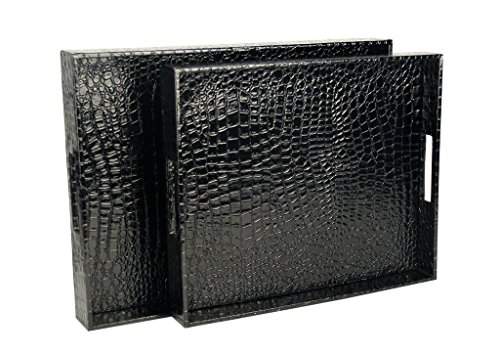 WOOSAL Rectangular Alligator Leather Serving Tray with Handles,Set of 2 (Black)