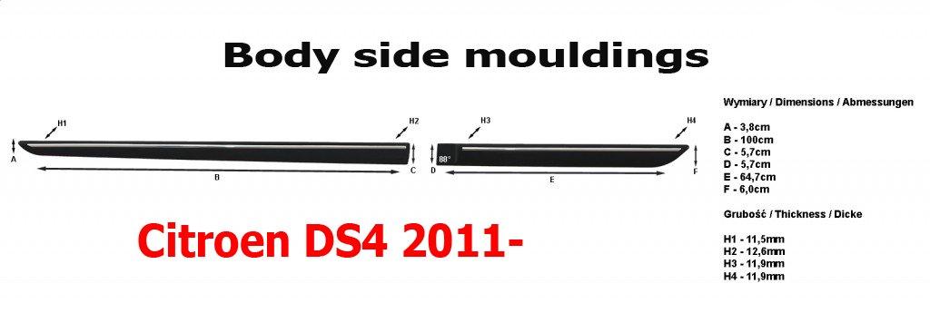 Cuerpo Lateral Molduras adecuado para Citroen DS4 2011 - 2016 puerta moldura 4 pcs kit Trim pantalla, negro color: Amazon.es: Coche y moto