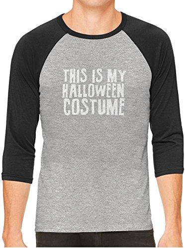 Austin Ink Apparel Funny Halloween Costume Gray Unisex 3/4 Sleeve Baseball Tee, Charcoal, 2XL