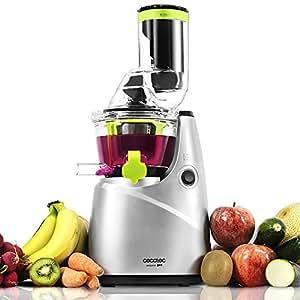 Cecotec C04037 Licuadora Verduras de prensado en frío, Extractor de Jugo con Canal XL para Fruta Entera, 250 W, 0.8 litros, plástico, Acero, 3 Velocidades, Gris Claro