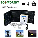 ECO-WORTHY 20W Portable Solar Panel Complete Kit :20w Foldable Solar Panel with SAE Connector, Lithium Battery Controller, LED Bulb