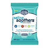 Saline Soothers Wipes Soft Natural Saline Wet Tissues for Face and Nose with Moisturizing Aloe, Chamomile, and Vitamin E, Menthol, 20 Count