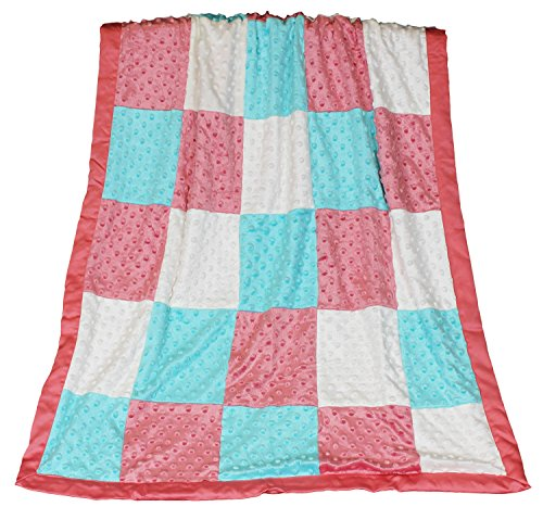 Price comparison product image Mila Coral,  Aqua and White Patchwork Minky Dot Blanket by Peanut Shell