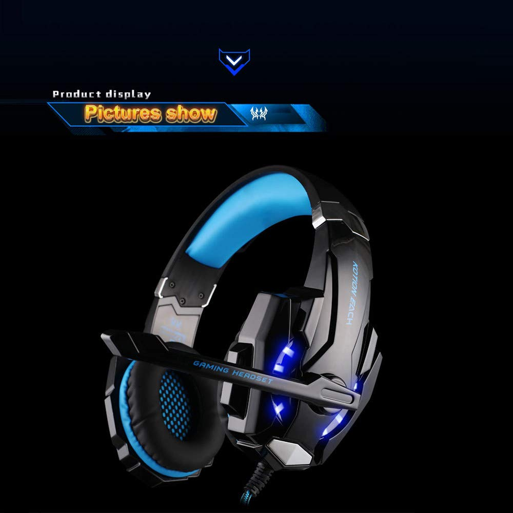 LED Light Gaming Headphone with Microphone, G9000 3.5mm Surround Stereo Game Earphone Noise Cancelling Mic for Laptop Tablet PS4 Mobile Phones (Blue) by NLDK-Headset (Image #6)