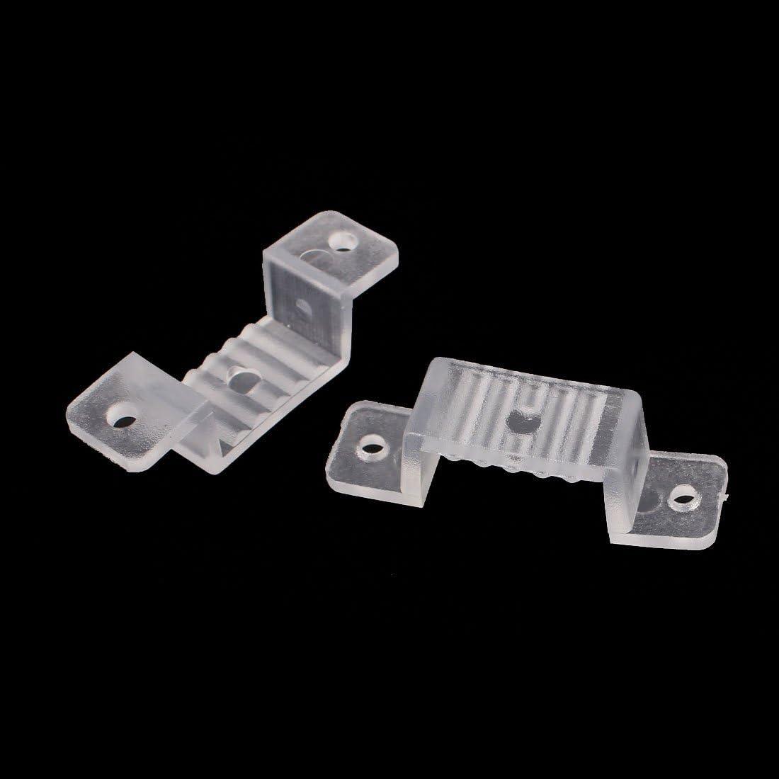 uxcell 18mm x 8mm Plastic LED Light Strip Fixing Mounting Bracket Clear 100pcs US-SA-AJD-359615