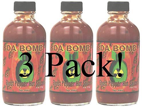 DA' Bomb Hot Sauce 4oz Glass Bottle (Pack of 3) Select Flavor Below (Ghost Pepper)