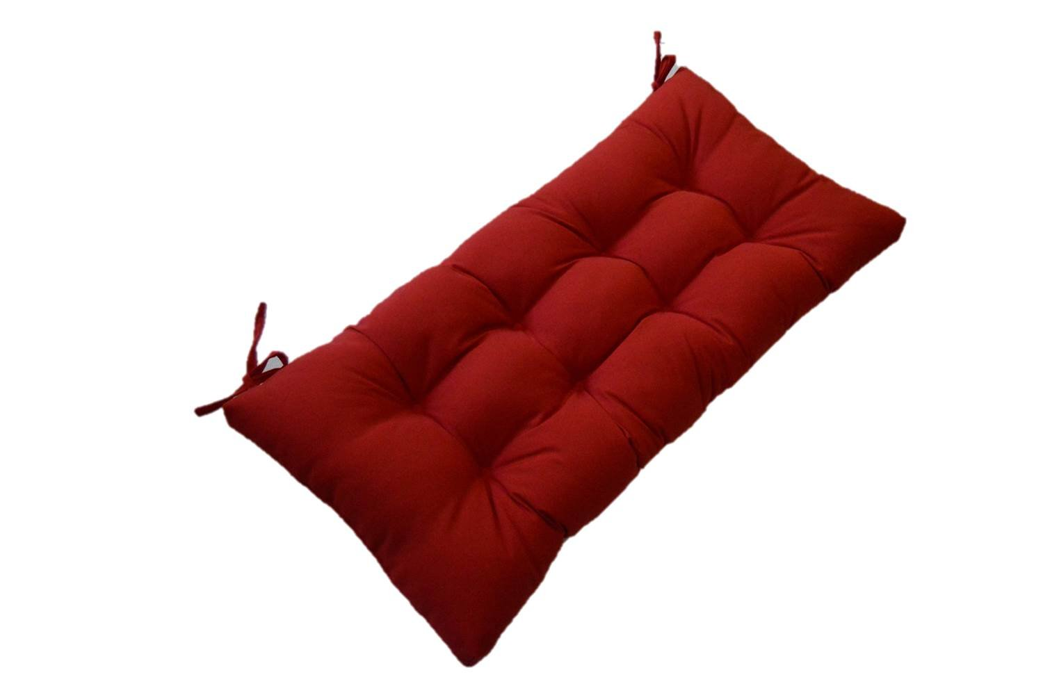 """Resort Spa Home Decor Solid Red Tufted Cushion for Bench, Swing, Glider Indoor/Outdoor - Choose/Select Size (58"""" x 17"""")"""