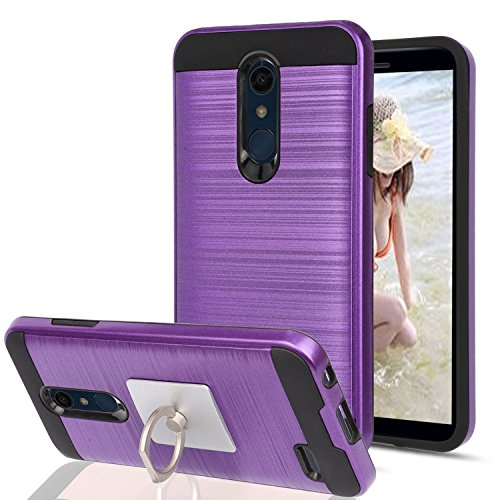 Ymhxcy For LG K30,LG Phoenix Plus,LG Premier Pro LTE,LG K10 2018 Case With Phone Stand,[Metal Brushed Texture] Hybrid Dual Layer Full-Body Shockproof Protective Cover Shell For K10 2018-LS Purple