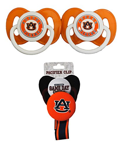NCAA Auburn Tigers Pacifier Clip with 2 pack Pacifier (Auburn Tigers Pacifier)