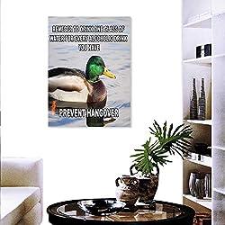 Animal Wall Art Canvas Prints Cute Mallard Duck Swimming on The Lake River Green Head Feathers Nature Design Print Modern Wall Art Living Room Decoration 24x36 Multicolor