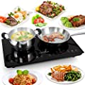 NutriChef Portable Dual 120V Electric Induction Cooker Cooktop - Digital Ceramic Countertop Double Burner w/ Kids Safety Lock - Works with Stainless Steel Pan & Other Magnetic Cookware