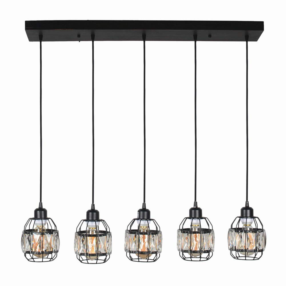 Baiwaiz Modern Crystal Cage Linear Chandelier Lighting, Metal and Wood Black Kitchen Island Light Fixture Rustic Elegant Hanging Pendant Chandelier for Dining Room 5 Lights Edison E26 089