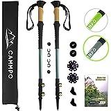 CAMMPO Trekking Poles - Ultra Strong & Lightweight Aluminum 7075 | Collapsible Hiking/Walking Sticks (2-pc) w/Tungsten Tip, Quick Adjust Flip-Lock System & Cork Grip