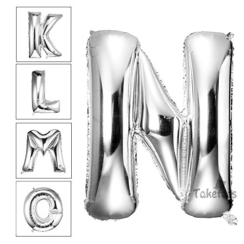 Takefuns 40 Inch Silver Alphabet I Balloon Birthday Party Halloween Christmas Decorations Helium Foil Mylar Letter Balloon(Silver,N)