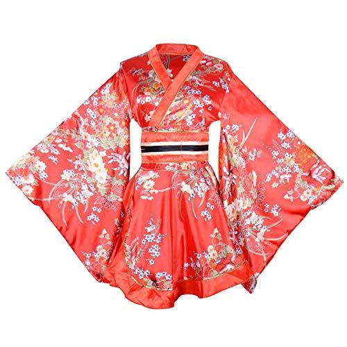 Sexy Short Kimono Costume Adult Women's Japanese Geisha Yukata Prints Gown Blossom Fancy Dress with OBI Belt (Red) ()