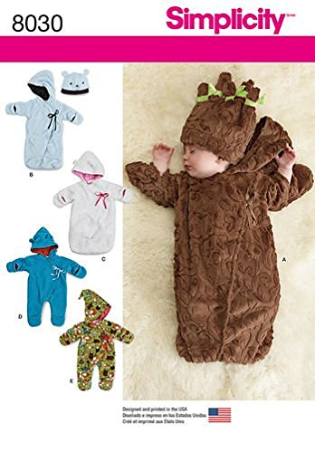 Simplicity Patterns Fleece Baby Buntings and Hats Size: A (Xxs-Xs-S), 8030 / J0205