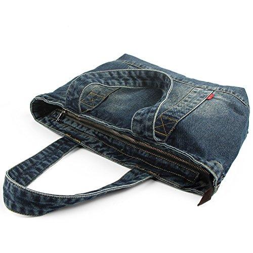 Vantoo Denim Handbag Shoulder Bag Purse Tote Bag with Zipper and Pockets for Men and Women
