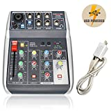 Audio USB Mixer with Effects, 4-Channel, 3-Band EQ, USB Powered, USB Audio Interface to PC and Portable Feature, Ideal for Live Stream Recording, Webcasting, Gaming (Phenyx Pro PTX-10)