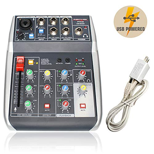 Audio USB Mixer with Effects, 4-Channel, 3-Band EQ, USB Powered and Output, USB Audio Interface to PC and Built-in DSP, Ideal for Live Stream Recording, Webcasting, Gaming (Phenyx Pro PTX-10)