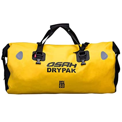 Motorcycle Dry Duffle Tail Bag 500D PVC Waterproof Saddle Bag Luggage  Reflective Yellow 60L for Motorcycling, Hiking, Cycling, Travel, Camping,