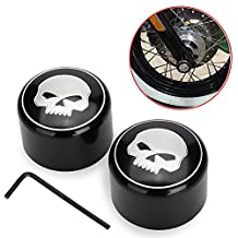 u-Box Skull Front Axle Nut Cover Cap for Harley Softail Dyna V-Rod Sportster 883 1200- 1 Pair