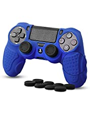 Silicone Controller Skin compatible with Sony PS4/PS4 Slim/PS4 Pro Controller with 8 Thumb Grips