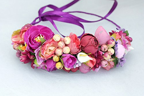 Pink Flower Hair Wreath Girls Floral Wedding Headband Adjustable Hair Piece Bridal Garland Boho Festival