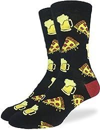 Good Luck Sock Men's Pizza & Beer Crew Socks - Black - Black, Adult Shoe size 7-12
