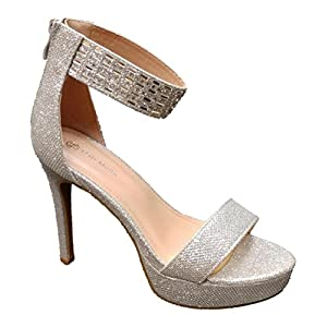Top Moda brisson-1 Women's Ankle Strap Rhinestone Prom High Heel Sandals (6.5, Silver)