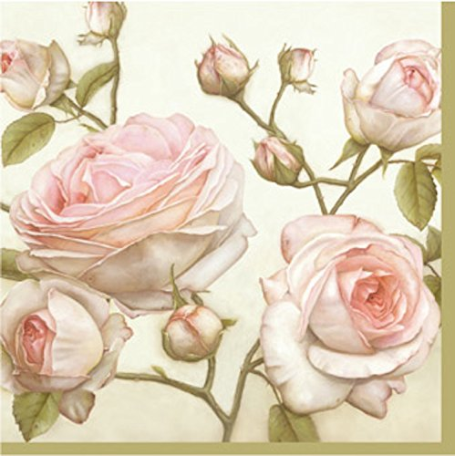Floral Paper Cocktail Napkins 2 X 20pcs Lucy Beauty Pale Pink Roses Decoupage Vintage Shabby Chic