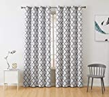HLC.ME Lattice Print Thermal Insulated Room Darkening Blackout Window Curtains for Bedroom - Platinum White & Grey - 52' W x 84' L - Pair