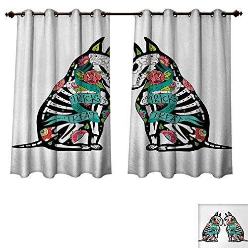 Anzhouqux Halloween Blackout Curtains Panels for Bedroom Skeleton Demon Figures Flowers and Trick or Treat Quote Ethnic Holiday Design Room Darkening Curtains Multicolor W63 x L63 inch for $<!--$50.20-->