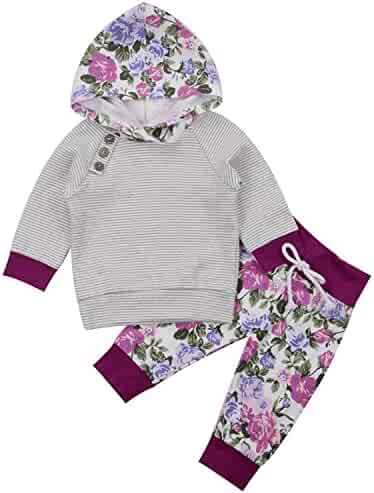 b8a91a4c3 Newborn Baby Boy Girl Floral Long Sleeve Hoodie Tops Pants Clothes Set  Outfits