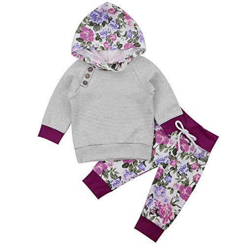Newborn Baby Boy Girl Floral Long Sleeve Hoodie Tops Pants Clothes Set (6-12 Months, Grey)
