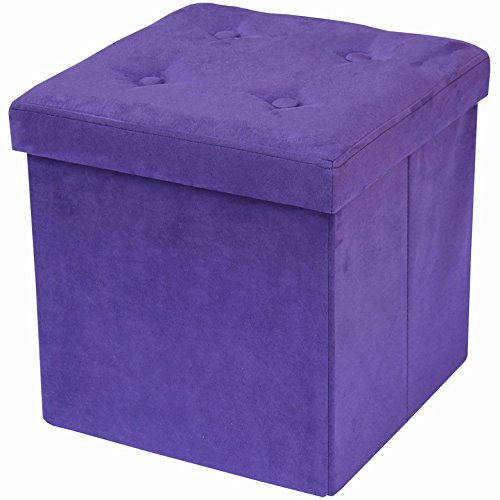 Sorbus Storage Ottoman Bench - Collapsible/Folding Bench Chest with Cover - Perfect Toy and Shoe Chest, Hope Chest, Pouffe Ottoman, Seat, Foot Rest, - Contemporary Faux Suede (Purple) (Purple Cushion Bench)