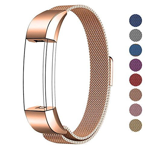 SWEES Metal Bands Compatible Fitbit Alta & Fitbit Alta HR, Milanese Loop Stainless Steel Metal Replacement Accessories Small Large for Women Men, Silver, Black, Rose Gold, Colorful, Champagne