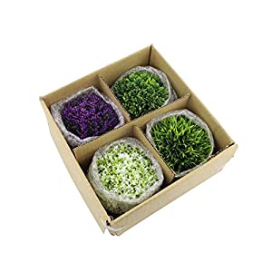 CEWOR 4 Pack Artificial Mini Plants Plastic Mini Plants Topiary Shrubs Fake Plants for Bathroom,House Decorations 7